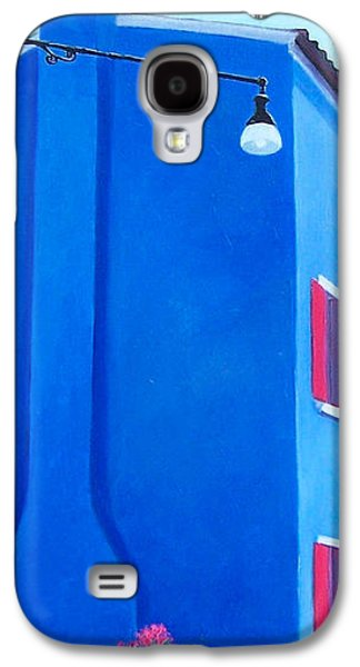 Blue And Red Paintings Galaxy S4 Cases - The Blue House Burano Galaxy S4 Case by Jan Matson