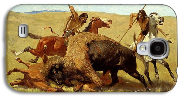 Bison Digital Art Galaxy S4 Cases - The Buffalo Hunt Galaxy S4 Case by Frederic Remington