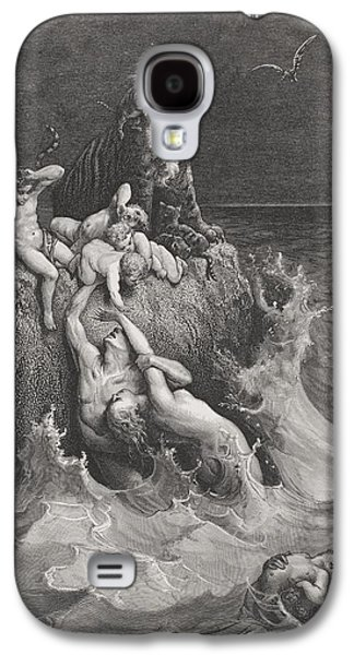 Religious Drawings Galaxy S4 Cases - The Deluge Galaxy S4 Case by Gustave Dore