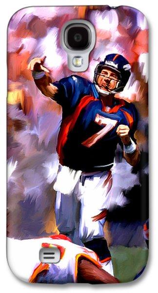 Street Drawings Galaxy S4 Cases - The Gun John Elway Galaxy S4 Case by Iconic Images Art Gallery David Pucciarelli