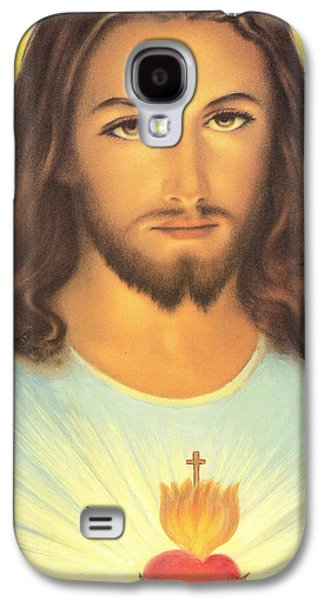 Religious Drawings Galaxy S4 Cases - The Sacred Heart Of Jesus Galaxy S4 Case by French School