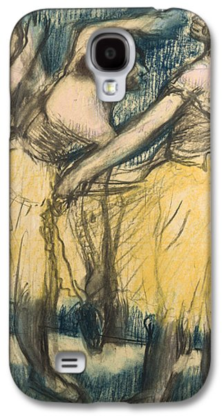 Impressionism Pastels Galaxy S4 Cases - Three dancers in yellow skirts Galaxy S4 Case by Edgar Degas