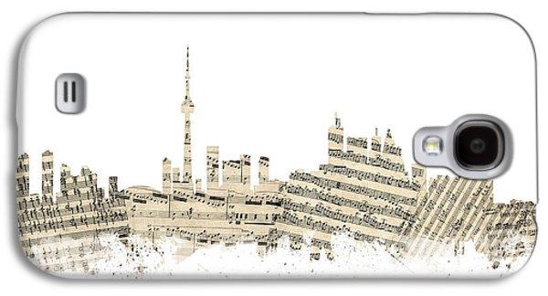 Toronto Galaxy S4 Cases - Toronto Canada Skyline Sheet Music Cityscape Galaxy S4 Case by Michael Tompsett