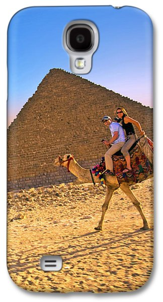 Tourists Ride A Camel In Front Galaxy S4 Case by Miva Stock
