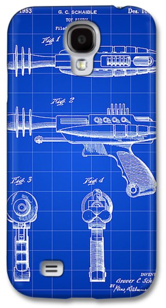 Fictional Galaxy S4 Cases - Toy Ray Gun Patent 1952 - Blue Galaxy S4 Case by Stephen Younts