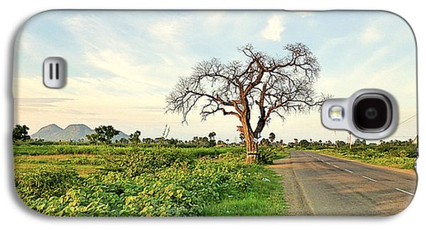 Metal Prints Pyrography Galaxy S4 Cases - Tree on Road Galaxy S4 Case by Girish J