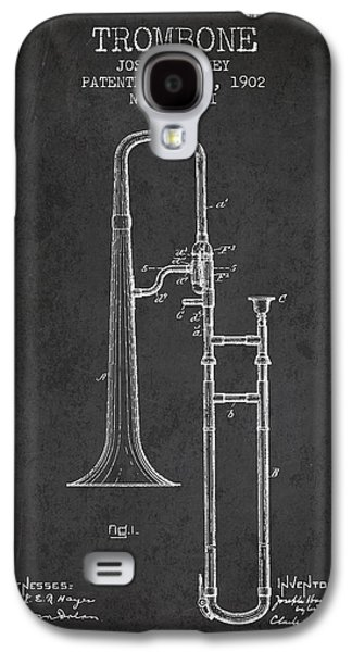 Trombone Patent From 1902 - Dark Galaxy S4 Case by Aged Pixel