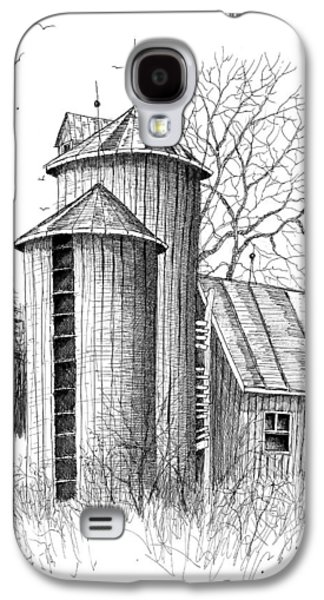 Barn Pen And Ink Galaxy S4 Cases - Twin Silos Galaxy S4 Case by Steven Schultz