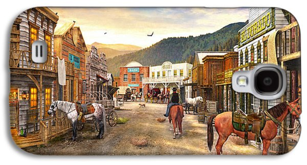 Horizontal Digital Art Galaxy S4 Cases - Wild West Town Galaxy S4 Case by Dominic Davison