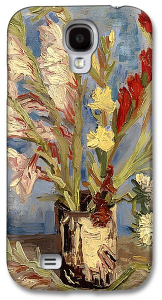 Gladiolas Paintings Galaxy S4 Cases - Vase with Gladioli and China Asters Galaxy S4 Case by Vincent van Gogh