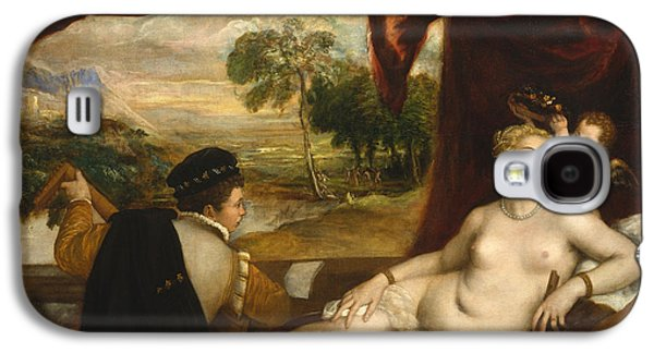 Lute Paintings Galaxy S4 Cases - Venus and the Lute Player Galaxy S4 Case by Titian
