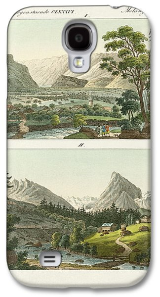 Switzerland Drawings Galaxy S4 Cases - Views of Switzerland Galaxy S4 Case by Splendid Art Prints