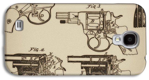 Mechanism Mixed Media Galaxy S4 Cases - Vintage Colt Revolver Drawing  Galaxy S4 Case by Nenad  Cerovic