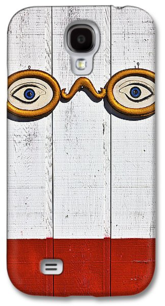 Glass Wall Galaxy S4 Cases - Vintage eye sign on wooden wall Galaxy S4 Case by Garry Gay