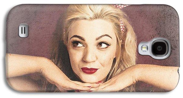 Chin Up Galaxy S4 Cases - Vintage face of nostalgia. Retro blond 1940s girl  Galaxy S4 Case by Ryan Jorgensen