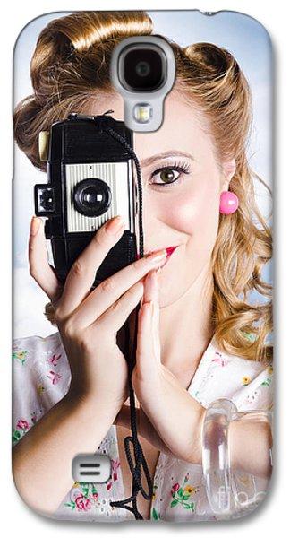 1950s Portraits Photographs Galaxy S4 Cases - Vintage film photographer taking outdoor portrait Galaxy S4 Case by Ryan Jorgensen