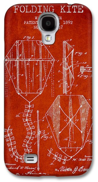 Kite Galaxy S4 Cases - Vintage Folding Kite Patent from 1892 Galaxy S4 Case by Aged Pixel