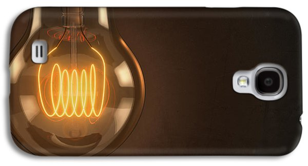 Computer Generated Galaxy S4 Cases - Close Up Vintage Hanging Light Bulb Galaxy S4 Case by Scott Norris