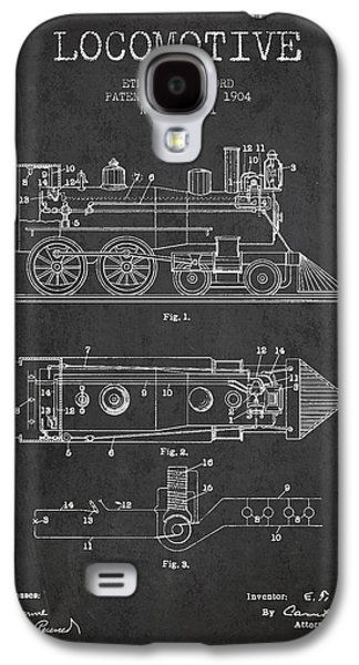 Rail Digital Art Galaxy S4 Cases - Vintage Locomotive patent from 1904 Galaxy S4 Case by Aged Pixel