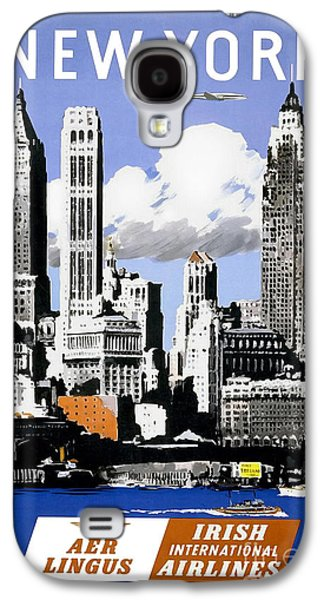 Cities Drawings Galaxy S4 Cases - Vintage New York Travel Poster Galaxy S4 Case by Jon Neidert