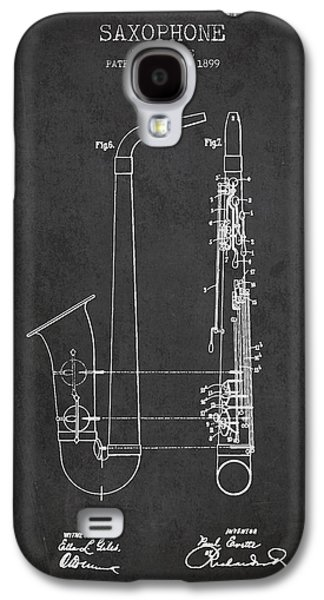 Saxophone Patent Drawing From 1899 - Dark Galaxy S4 Case by Aged Pixel