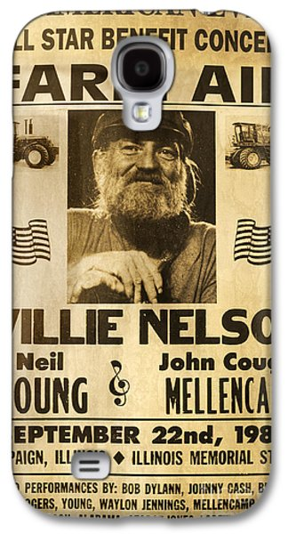 Neil Young Galaxy S4 Cases - Vintage Willie Nelson 1985 Farm Aid Poster Galaxy S4 Case by John Stephens