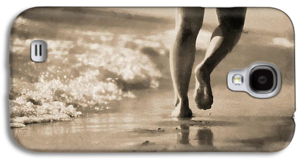 Walking Mixed Media Galaxy S4 Cases - Walking On The Beach  Galaxy S4 Case by Dan Sproul