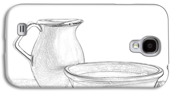 """""""indoor"""" Still Life Mixed Media Galaxy S4 Cases - Water Pitcher and Basin Galaxy S4 Case by Linda Muir"""