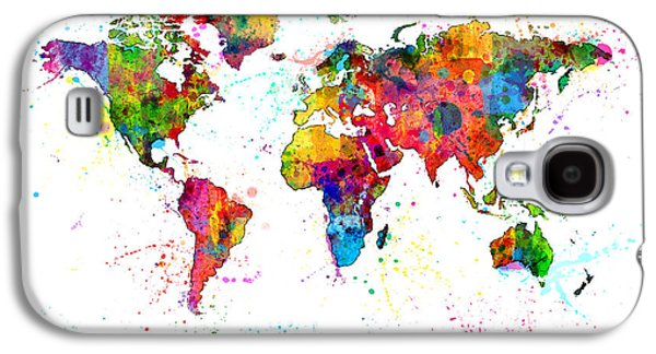 Cartography Digital Art Galaxy S4 Cases - Watercolor Political Map of the World Galaxy S4 Case by Michael Tompsett