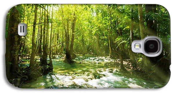 Floods Galaxy S4 Cases - Waterfall In Rainforest Galaxy S4 Case by Atiketta Sangasaeng