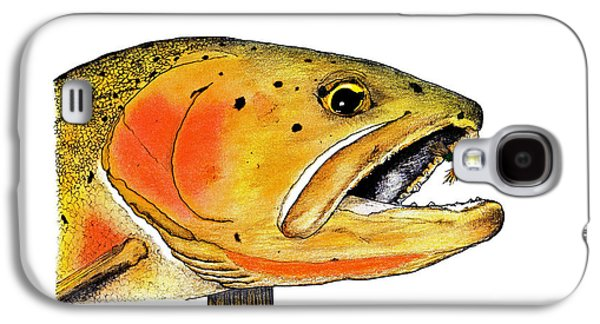Nature Study Pastels Galaxy S4 Cases - Westslope Cutthroat Trout Head Study Galaxy S4 Case by Tim Shoales