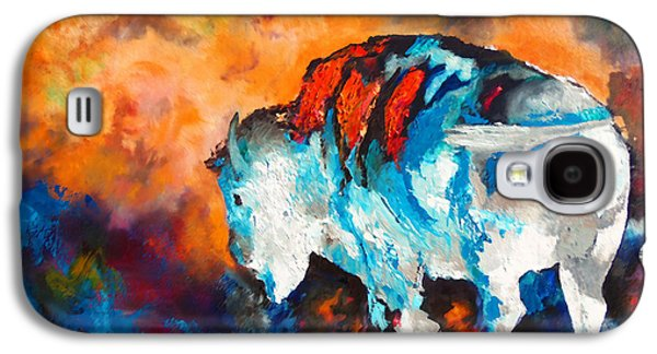 Chatham Paintings Galaxy S4 Cases - White Buffalo Ghost Galaxy S4 Case by Karen Kennedy Chatham