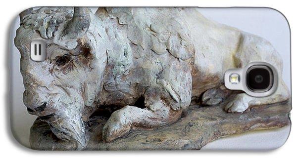 Bison Ceramics Galaxy S4 Cases - White Buffalo-Sculpture Galaxy S4 Case by Derrick Higgins