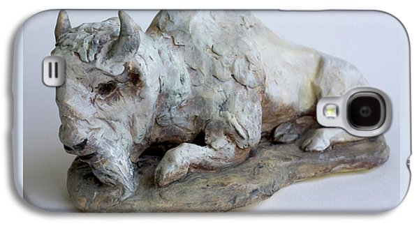 Nature Ceramics Galaxy S4 Cases - White Buffalo-Sculpture Galaxy S4 Case by Derrick Higgins