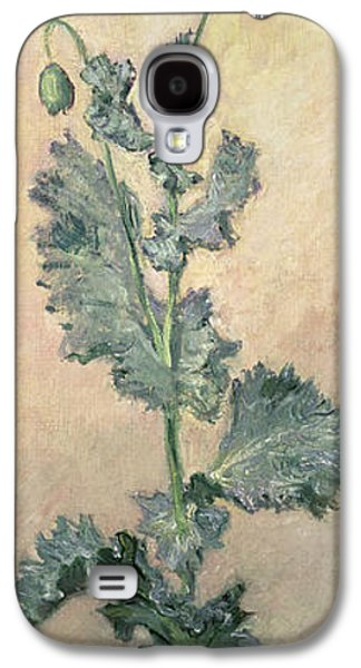 Botanical Galaxy S4 Cases - White Poppy Galaxy S4 Case by Claude Monet