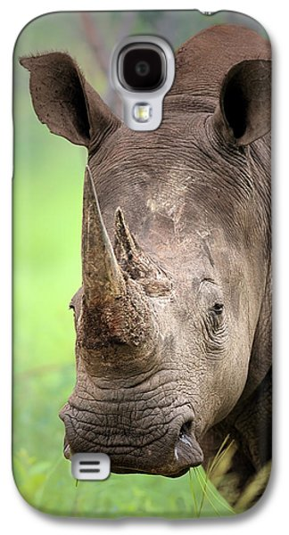 Blurred Galaxy S4 Cases - White Rhinoceros Galaxy S4 Case by Johan Swanepoel