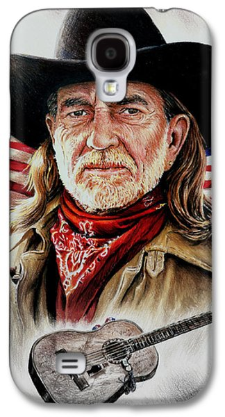 Stars And Stripes Mixed Media Galaxy S4 Cases - Willie Nelson American Legend Galaxy S4 Case by Andrew Read