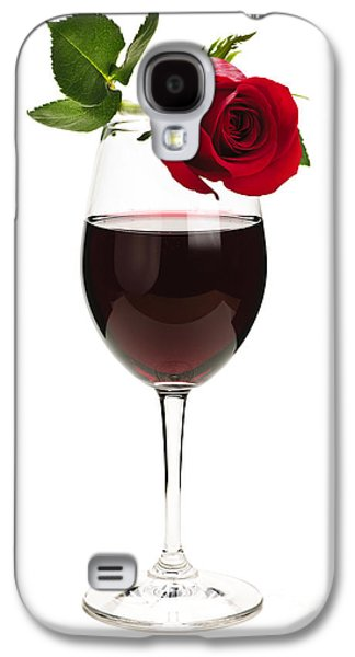 Wine With Red Rose Galaxy S4 Case by Elena Elisseeva