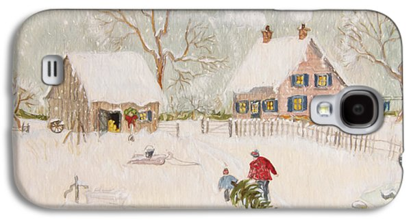 Quiet Time Galaxy S4 Cases - Winter scene of a farm with people/ digitally altered Galaxy S4 Case by Sandra Cunningham