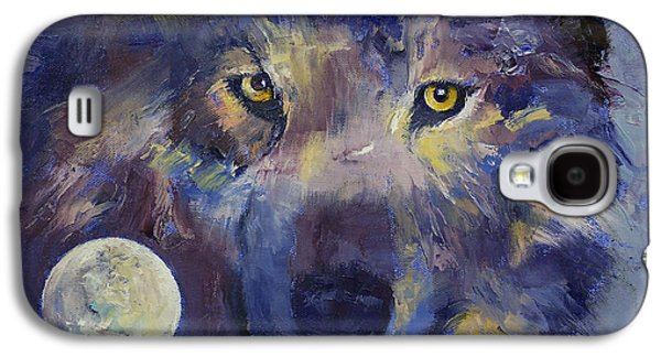 Luna Galaxy S4 Cases - Grey Wolf Moon Galaxy S4 Case by Michael Creese