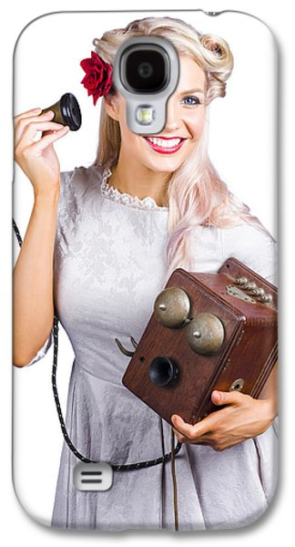 Woman Using Antique Telephone Galaxy S4 Case by Jorgo Photography - Wall Art Gallery