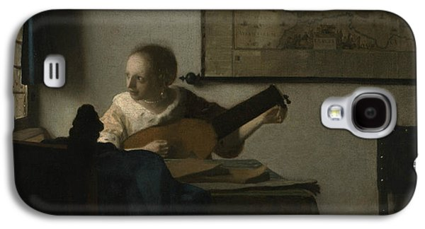 Lute Paintings Galaxy S4 Cases - Woman with a Lute Galaxy S4 Case by Johannes Vermeer