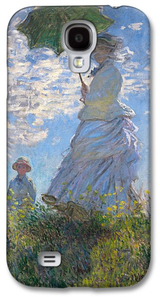 Mums Paintings Galaxy S4 Cases - Woman with a Parasol - Madame Monet and Her Son Galaxy S4 Case by Claude Monet