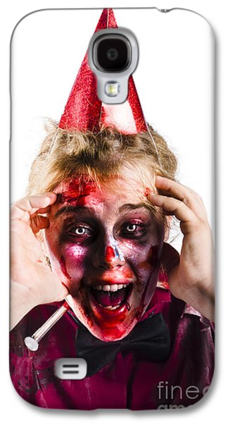 Concept Photographs Galaxy S4 Cases - Woman with horror make up and party hat Galaxy S4 Case by Ryan Jorgensen