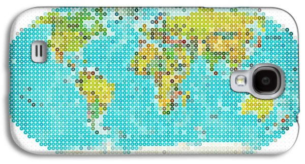 Planet System Paintings Galaxy S4 Cases - World Map Galaxy S4 Case by Celestial Images
