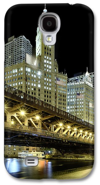 Bridge Galaxy S4 Cases - Wrigley Building At Night Galaxy S4 Case by Sebastian Musial