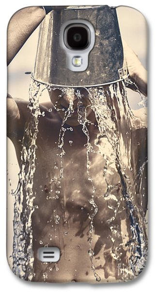 Shower Head Galaxy S4 Cases - Young man having fun on a tropical summer holiday Galaxy S4 Case by Ryan Jorgensen