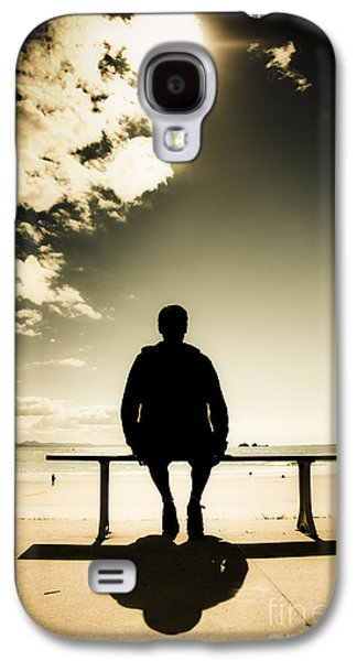 Contemplative Photographs Galaxy S4 Cases - Young Man In Silhouette Sitting In The Sun Galaxy S4 Case by Ryan Jorgensen