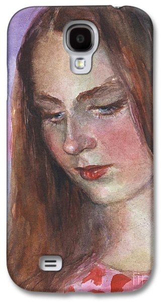 Impressionism Drawings Galaxy S4 Cases - Young woman watercolor portrait painting Galaxy S4 Case by Svetlana Novikova