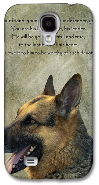 Dogs Digital Galaxy S4 Cases - Your Friend Your Partner Your Defender Galaxy S4 Case by David Dehner